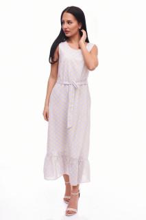 Rochie lunga cu buline Anastasia- gri-