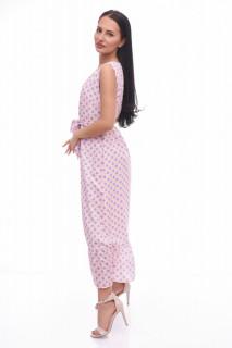 Rochie lunga cu buline Anastasia- roz-E