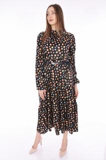 Rochie lunga satinata cu imprimeu si curea ( negru )-E-