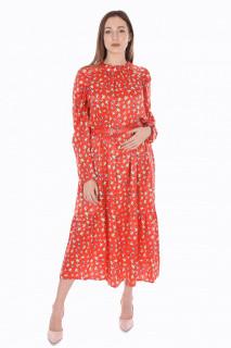 Rochie lunga satinata cu imprimeu si curea ( rosu )