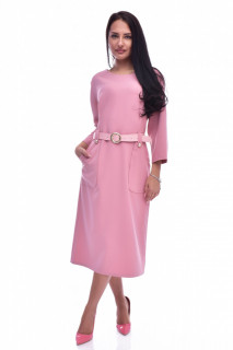 Rochie midi cu buzunare si curea - roz