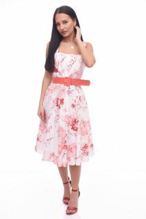 Rochie midi de zi cu imprimeu floral si curea-E