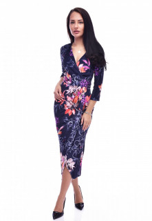 Rochie midi din catifea cu imprimeu floral - bleumarin