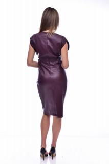 Rochie midi din piele ecologica fara maneci - mov
