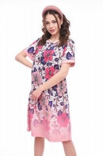 Rochie midi dreapta floral print-ANTONIA-