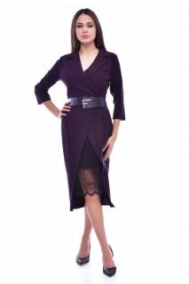 Rochie midi eleganta cu dantela decorativa - mov
