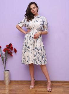 Rochie midi eleganta cu imprimeu floral si curea - Karina- albastru