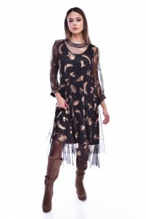 Rochie midi eleganta din tulle cu imprimeu auriu