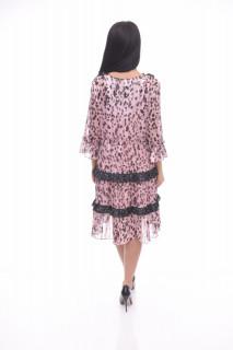 Rochie midi eleganta roz satinata cu volane si imprimeu