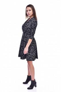 Rochie midi in clos cu imprimeu-negru-