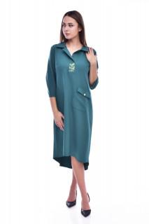 Rochie midi tip camasa cu nasturi pe spate - verde