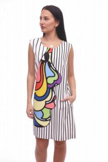 Rochie mini eleganta cu dungi si imprimeu multicolor