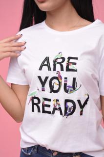 "Tricou dama alb ""Are you ready"""