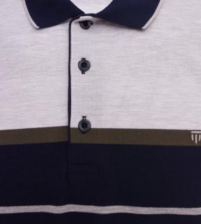 Tricou Polo Barbati Regular fit Tony Montana cu dungi - gri/bleumarin
