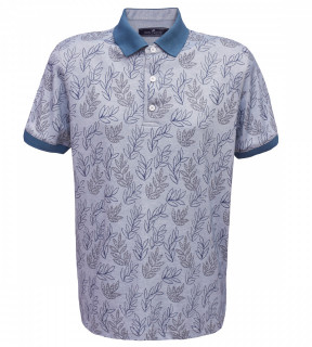 Tricou Polo Regular fit- bleu cu imprimeu