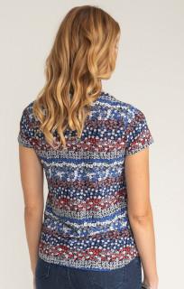 Bluza cu imprimeu floral albastru