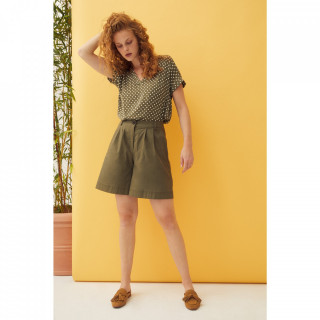 Bluza dama de vara cu buline - kaki