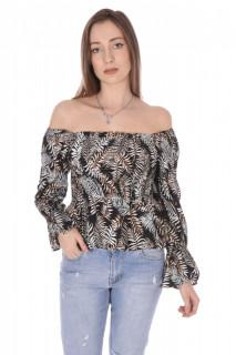 Bluza elastica cu imprimeu si umerii goi-maro-