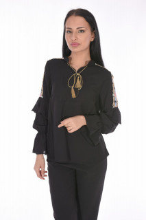 Camasa eleganta cu broderie florala pe umeri-negru-