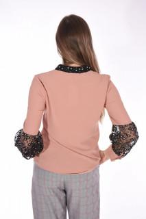 Camasa eleganta cu broderie si paiete- roz corai-