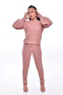 Compleu dama Annette doua piese din tricot roz corai