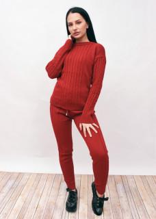 Compleu dama din doua piese din tricot grena