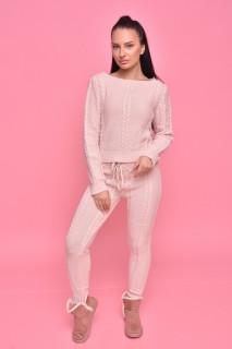Compleu dama tricotat roz prafuit