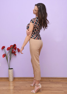 Pantaloni dama chino cu talie inalta - bej