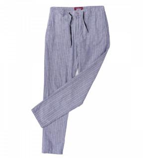 Pantaloni din in cu dungi -bleo