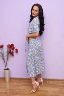 Rochie dama midi de vara cu imprimeu floral Aisha- albastru