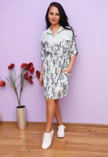 Rochie dama mini stil camasa cu imprimeu - Amelia - bleu