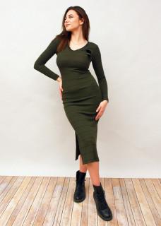 Rochie lunga cu dungi din tricot kaki