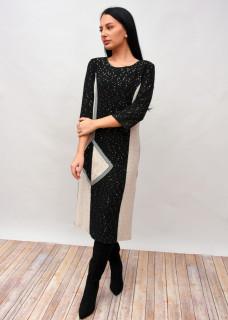 Rochie lunga din tricot cu paiete aplicate - Marimi Mari -