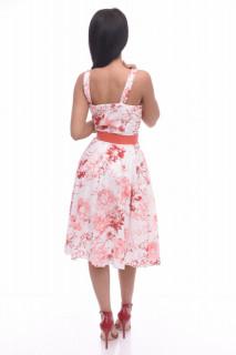 Rochie midi de zi cu imprimeu floral si curea
