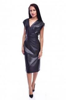 Rochie midi din piele ecologica fara maneci - negru