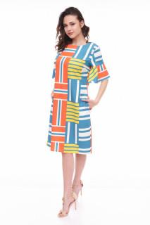 Rochie midi dreapta stil casual cu imprimeu si buzunare- Lisa- albastru-