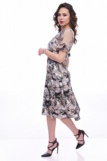 Rochie midi eleganta cu imprimeu si maneca scurta - bej