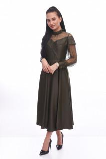 Rochie midi eleganta satinata cu tull si maneca lunga