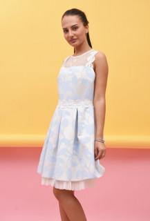 Rochie mini eleganta cu imprimeu floral si tull