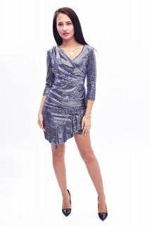 Rochie mini eleganta cu paiete si volane - bleumarin