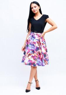 Rochie Neagra cu imprimeu multicolor
