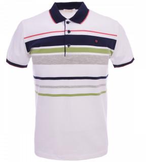 Tricou Polo Barbati Slim Fit Tony Montana cu dungi - alb/verde