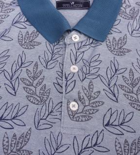 Tricou Polo Regular fit- bleu cu imprimeu