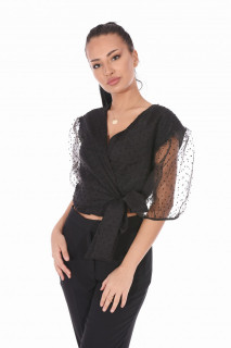 Bluza eleganta cu maneci bufante si dublura de organza- negru -E