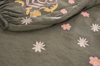Camasa dama cu broderie florala -kaki-