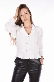Camasa eleganta cu maneci bufante-alb-E