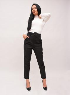 Pantalon negru chinos cu talie inalta