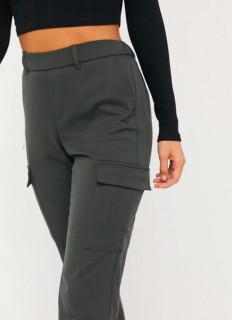 Pantaloni dama cargo kaki