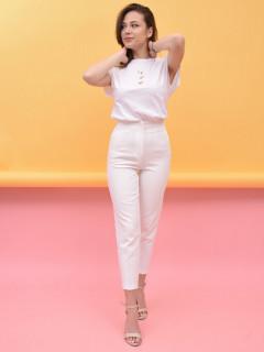 Pantaloni dama chino cu talie inalta - alb