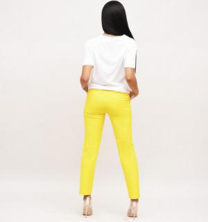 Pantaloni galben inchis cu capsa